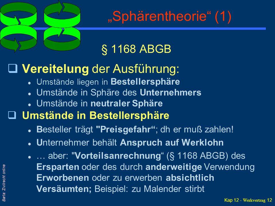 """Kap 12 - Werkvertrag 12 Barta: Zivilrecht online """"Sphärentheorie"""" (1) § 1168 ABGB qVereitelung der Ausführung: l Umstände liegen in Bestellersphäre l"""