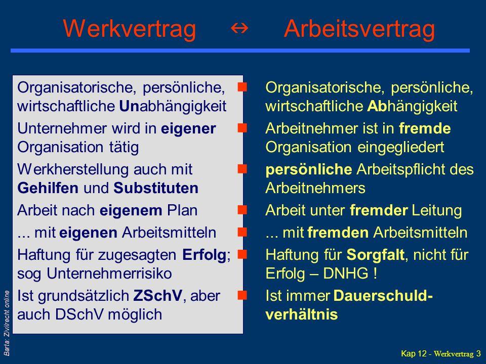 Kap 12 - Werkvertrag 3 Barta: Zivilrecht online Werkvertrag Arbeitsvertrag Organisatorische, persönliche, wirtschaftliche Unabhängigkeit Unternehmer w