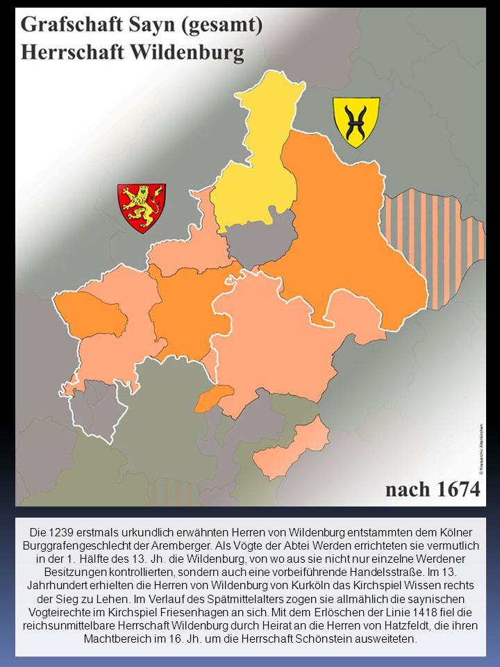 Die 1239 erstmals urkundlich erwähnten Herren von Wildenburg entstammten dem Kölner Burggrafengeschlecht der Aremberger. Als Vögte der Abtei Werden er