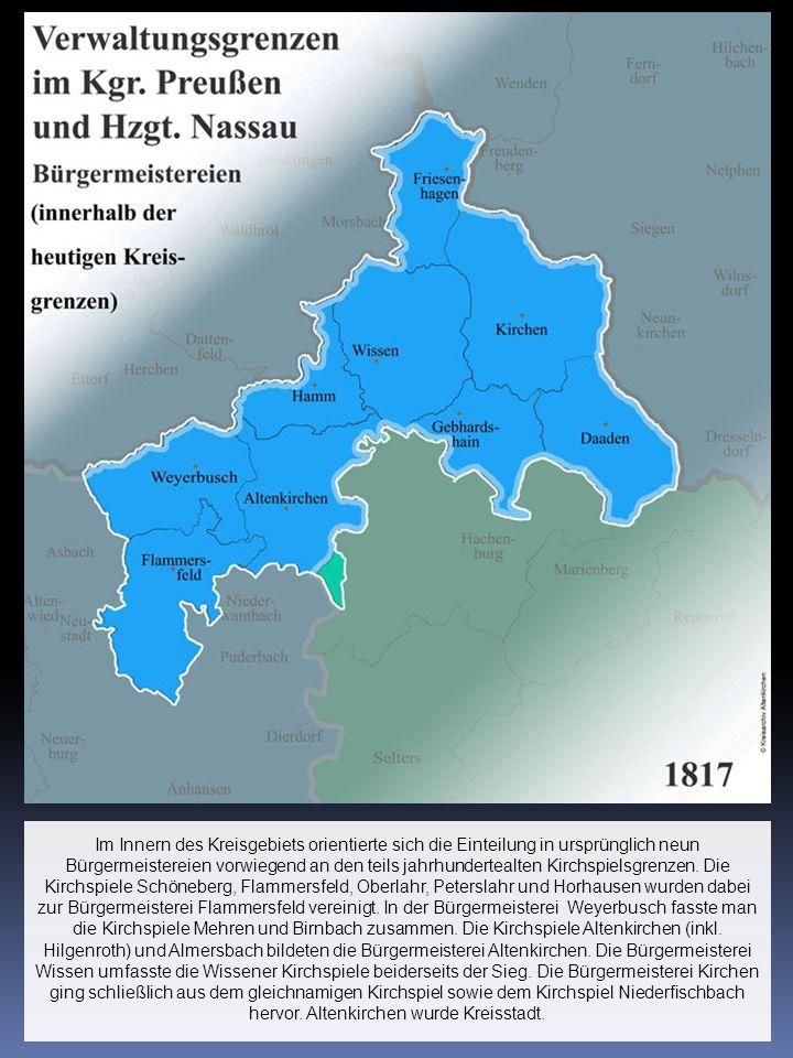 Im Innern des Kreisgebiets orientierte sich die Einteilung in ursprünglich neun Bürgermeistereien vorwiegend an den teils jahrhundertealten Kirchspiel