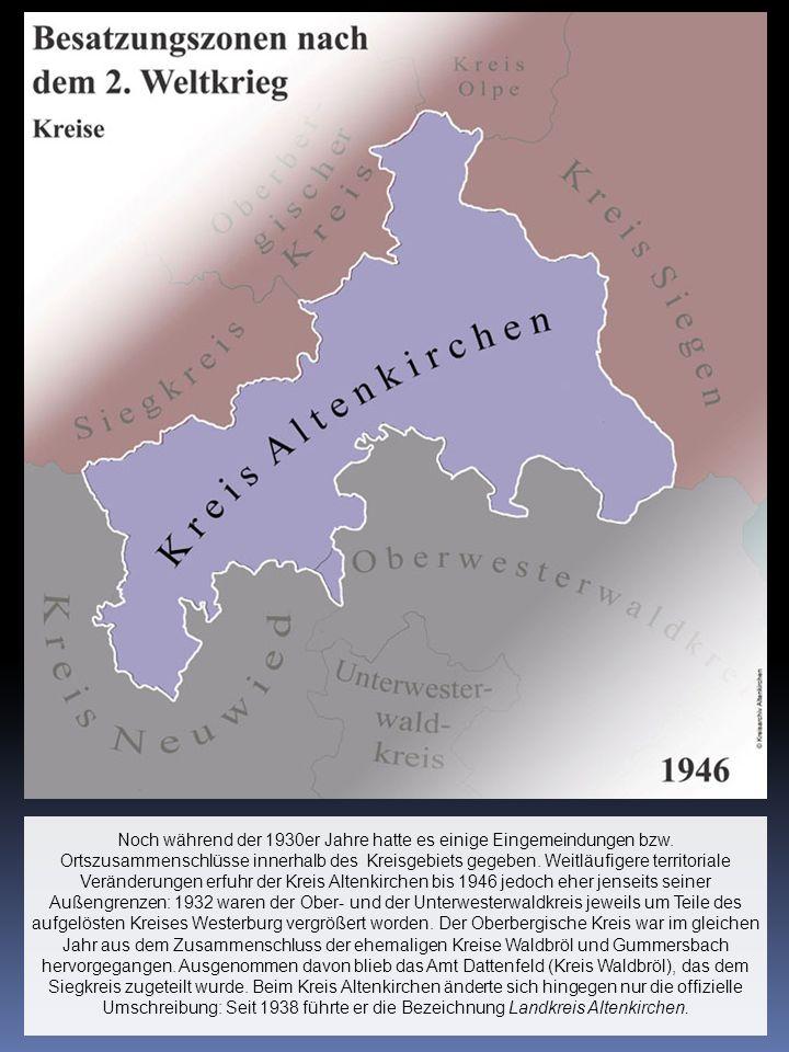 Noch während der 1930er Jahre hatte es einige Eingemeindungen bzw. Ortszusammenschlüsse innerhalb des Kreisgebiets gegeben. Weitläufigere territoriale