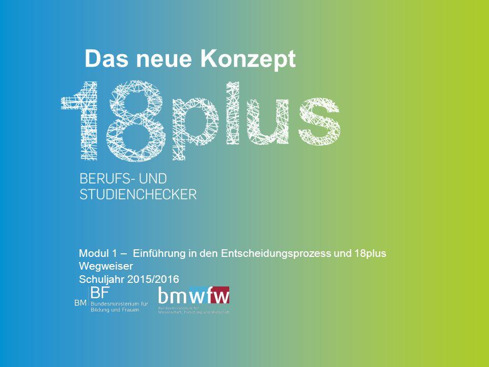 Das neue Konzept Modul 1 – Einführung in den Entscheidungsprozess und 18plus Wegweiser Schuljahr 2015/2016