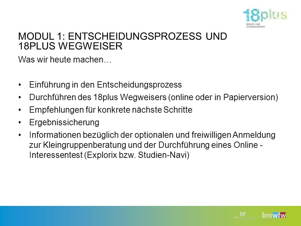 MODUL 1: ENTSCHEIDUNGSPROZESS UND 18PLUS WEGWEISER Was wir heute machen… Einführung in den Entscheidungsprozess Durchführen des 18plus Wegweisers (onl