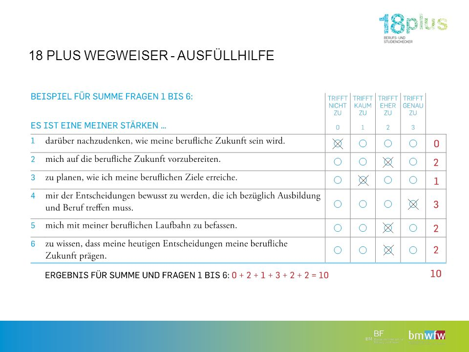 18 PLUS WEGWEISER - AUSFÜLLHILFE