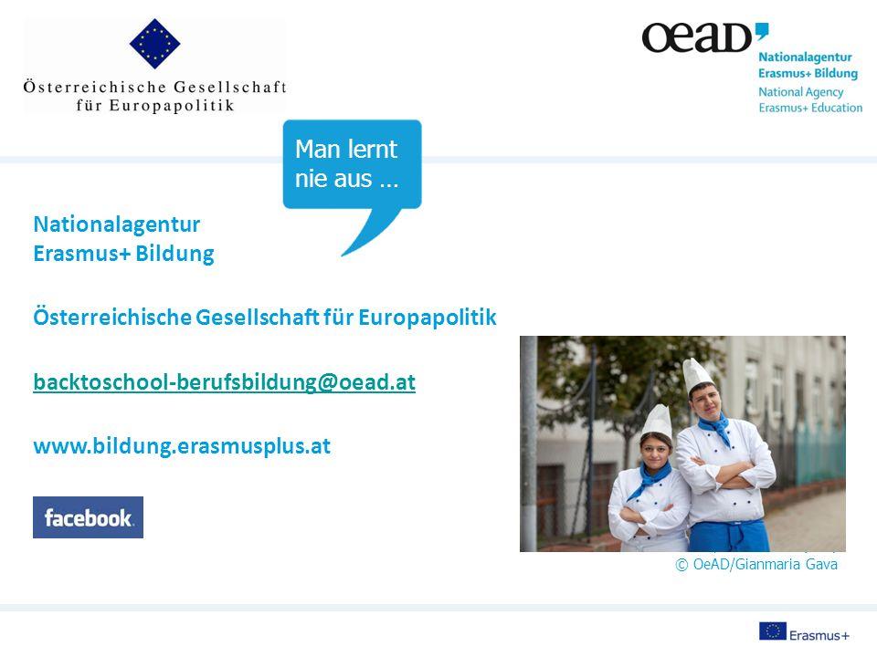 Nationalagentur Erasmus+ Bildung Österreichische Gesellschaft für Europapolitik backtoschool-berufsbildung@oead.at www.bildung.erasmusplus.at Fotos: © OeAD/Jana Herbst (S.