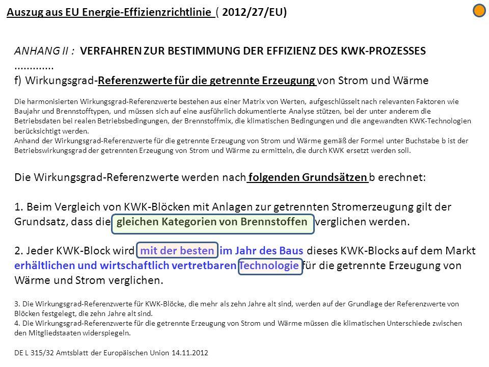 ANHANG II : VERFAHREN ZUR BESTIMMUNG DER EFFIZIENZ DES KWK-PROZESSES............. f) Wirkungsgrad-Referenzwerte für die getrennte Erzeugung von Strom