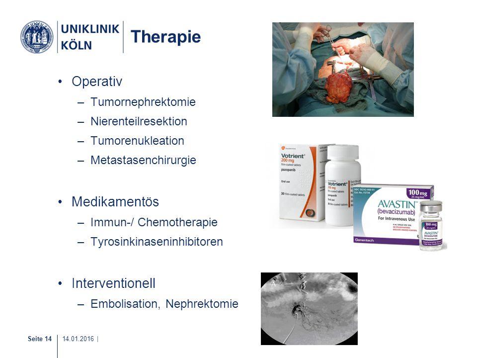 Seite 14 14.01.2016 | Therapie Operativ –Tumornephrektomie –Nierenteilresektion –Tumorenukleation –Metastasenchirurgie Medikamentös –Immun-/ Chemother