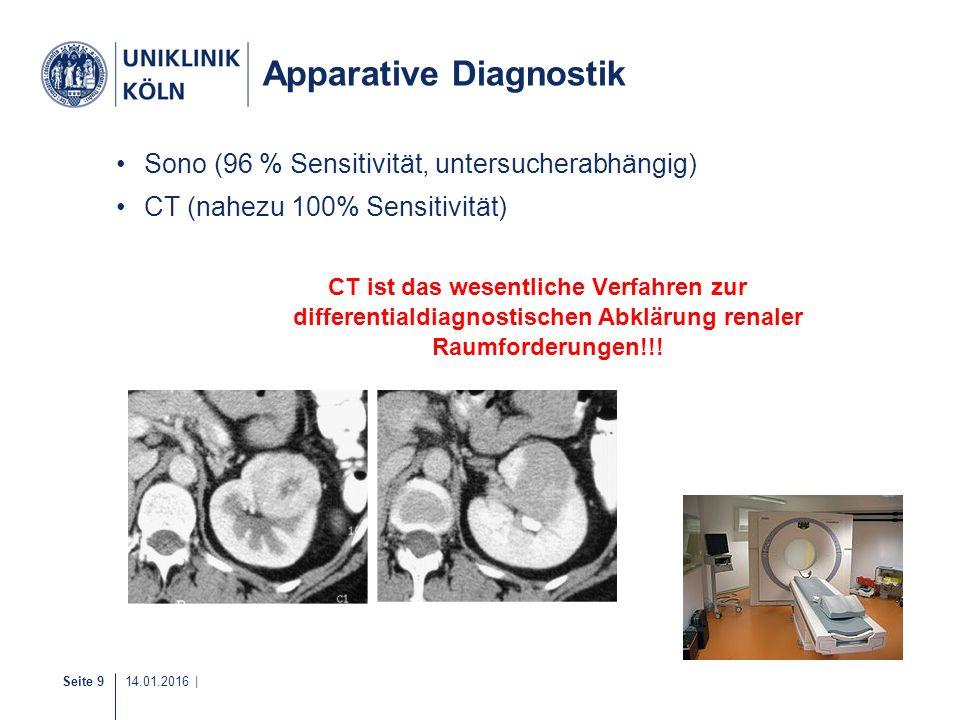 Seite 9 14.01.2016 | Apparative Diagnostik Sono (96 % Sensitivität, untersucherabhängig) CT (nahezu 100% Sensitivität) CT ist das wesentliche Verfahre
