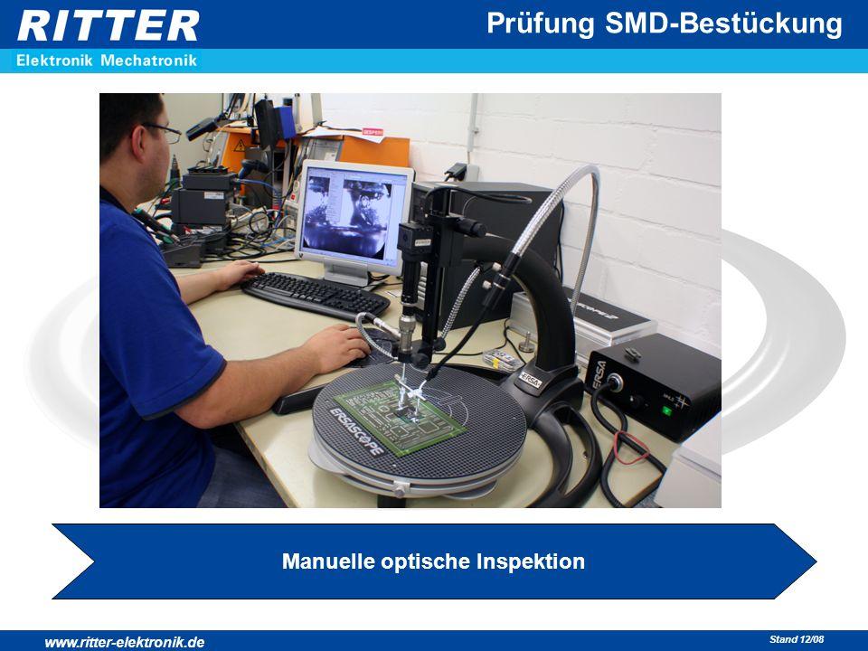www.ritter-elektronik.de Stand 12/08 Prüfung SMD-Bestückung Manuelle optische Inspektion