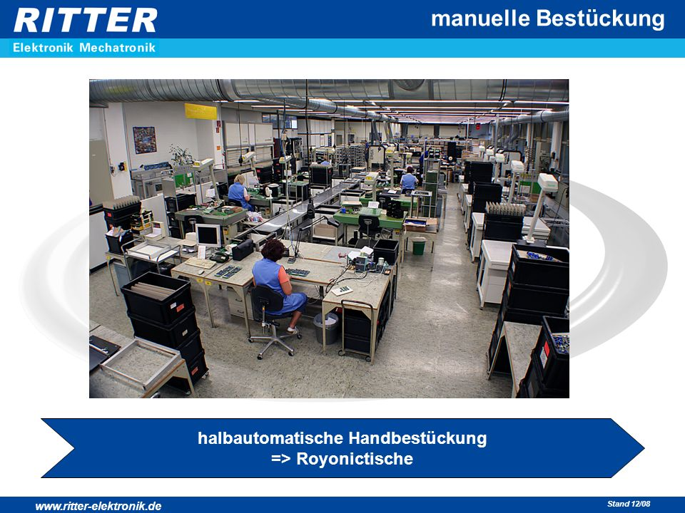 www.ritter-elektronik.de Stand 12/08 manuelle Bestückung halbautomatische Handbestückung => Royonictische