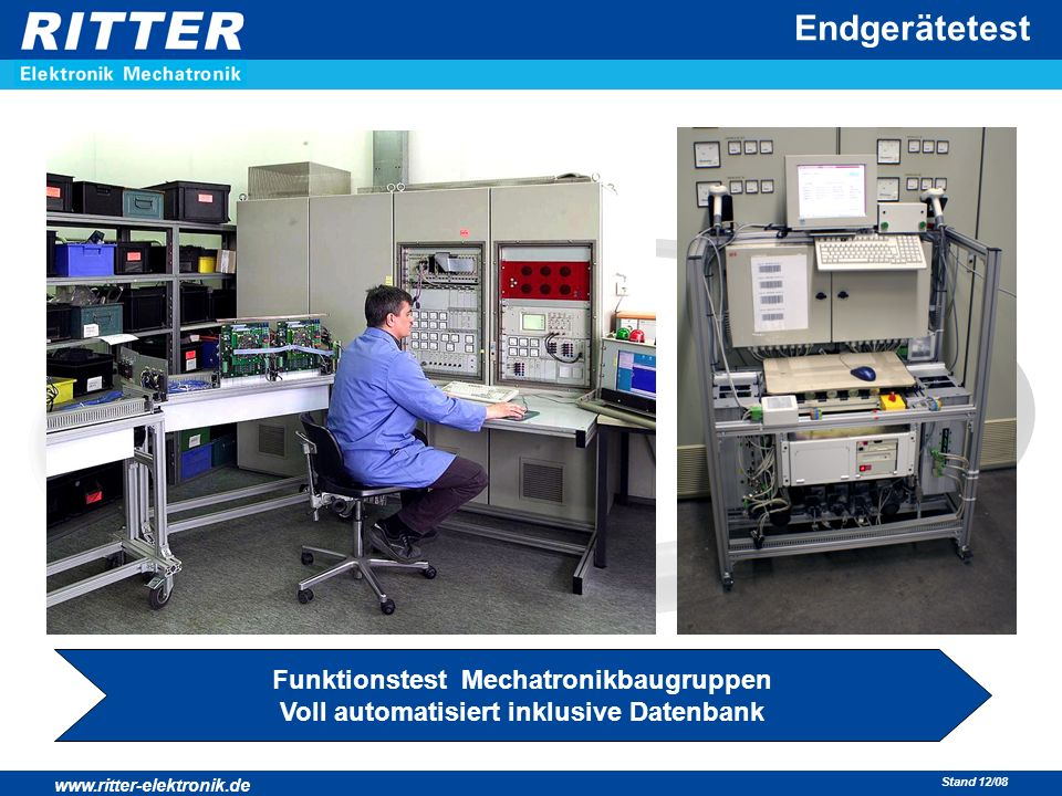 www.ritter-elektronik.de Stand 12/08 Endgerätetest Funktionstest Mechatronikbaugruppen Voll automatisiert inklusive Datenbank