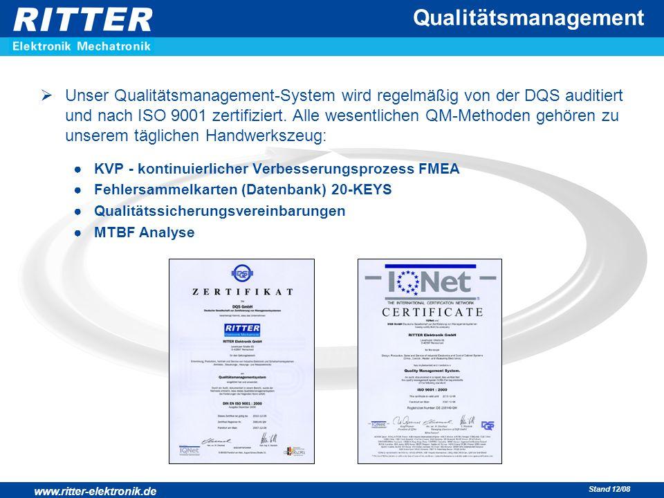 www.ritter-elektronik.de Stand 12/08  Unser Qualitätsmanagement-System wird regelmäßig von der DQS auditiert und nach ISO 9001 zertifiziert. Alle wes