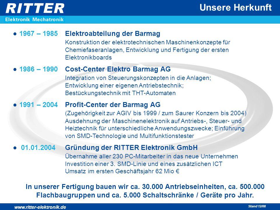 www.ritter-elektronik.de Stand 12/08 ● 1967 – 1985Elektroabteilung der Barmag Konstruktion der elektrotechnischen Maschinenkonzepte für Chemiefaseranl