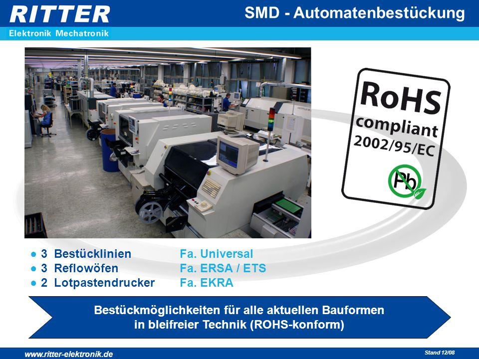 www.ritter-elektronik.de Stand 12/08 SMD - Automatenbestückung ● 3 Bestücklinien Fa. Universal ● 3 Reflowöfen Fa. ERSA / ETS ● 2 Lotpastendrucker Fa.