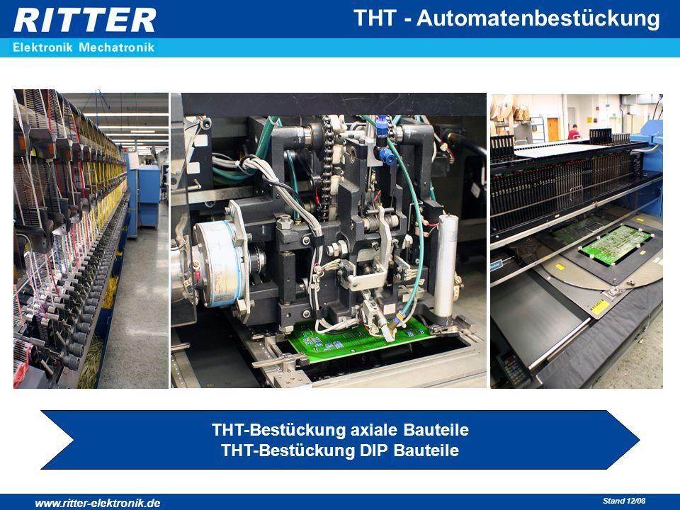 www.ritter-elektronik.de Stand 12/08 THT - Automatenbestückung THT-Bestückung axiale Bauteile THT-Bestückung DIP Bauteile