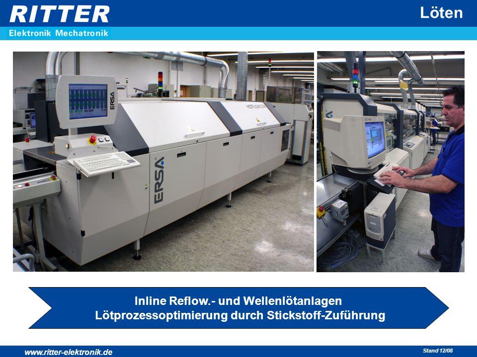 www.ritter-elektronik.de Stand 12/08 Löten Inline Reflow.- und Wellenlötanlagen Lötprozessoptimierung durch Stickstoff-Zuführung