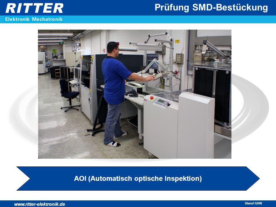 www.ritter-elektronik.de Stand 12/08 Prüfung SMD-Bestückung AOI (Automatisch optische Inspektion)