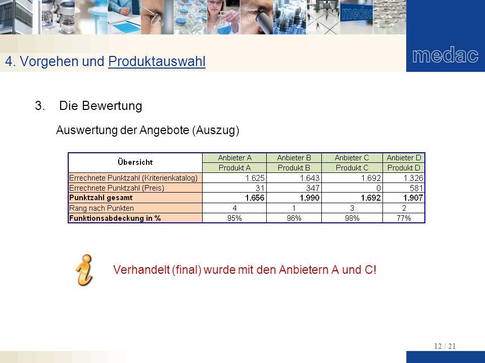 4. Vorgehen und Produktauswahl 12 / 21 3.Die Bewertung Auswertung der Angebote (Auszug) Verhandelt (final) wurde mit den Anbietern A und C!