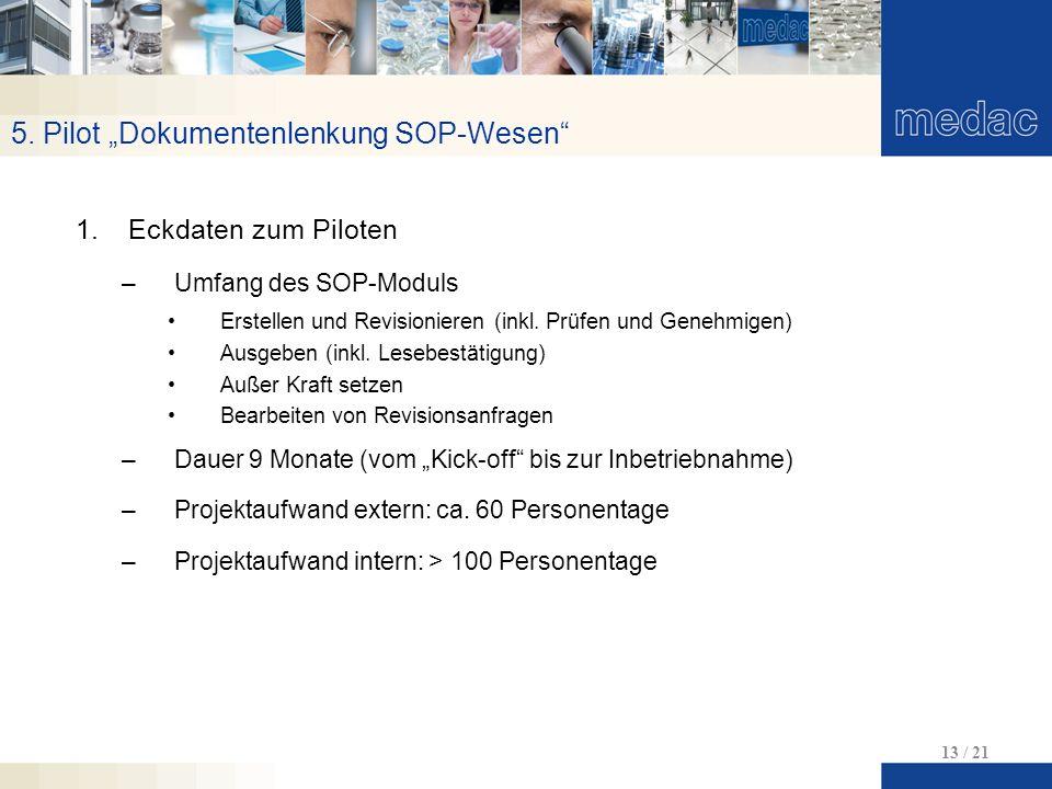 """5. Pilot """"Dokumentenlenkung SOP-Wesen"""" 13 / 21 1.Eckdaten zum Piloten –Umfang des SOP-Moduls Erstellen und Revisionieren (inkl. Prüfen und Genehmigen)"""
