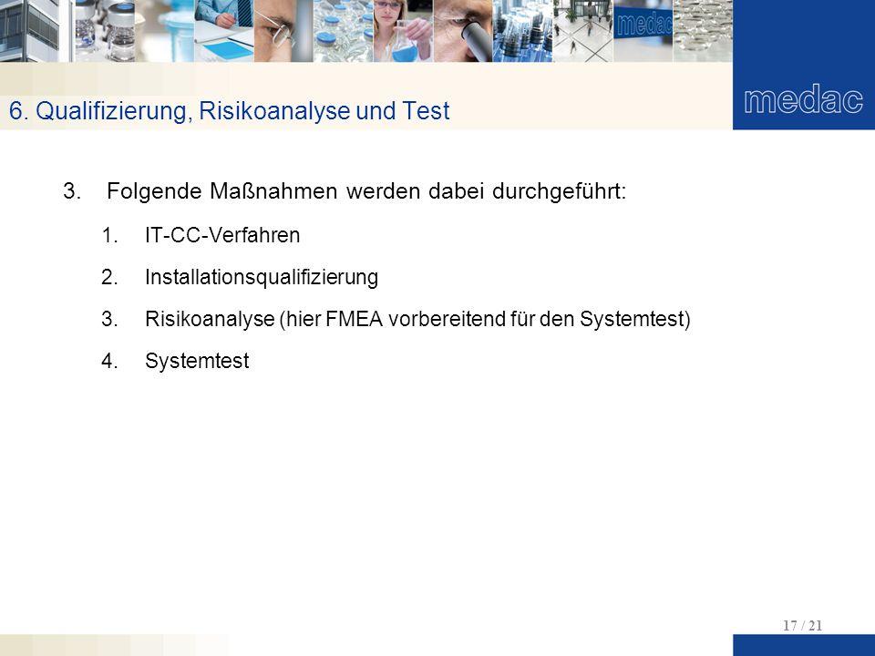 6. Qualifizierung, Risikoanalyse und Test 17 / 21 3.Folgende Maßnahmen werden dabei durchgeführt: 1.IT-CC-Verfahren 2.Installationsqualifizierung 3.Ri