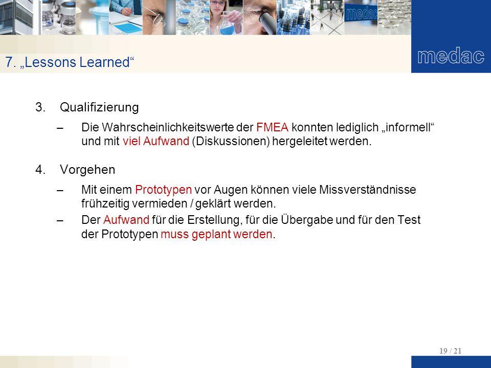 """7. """"Lessons Learned"""" 19 / 21 3.Qualifizierung –Die Wahrscheinlichkeitswerte der FMEA konnten lediglich """"informell"""" und mit viel Aufwand (Diskussionen)"""