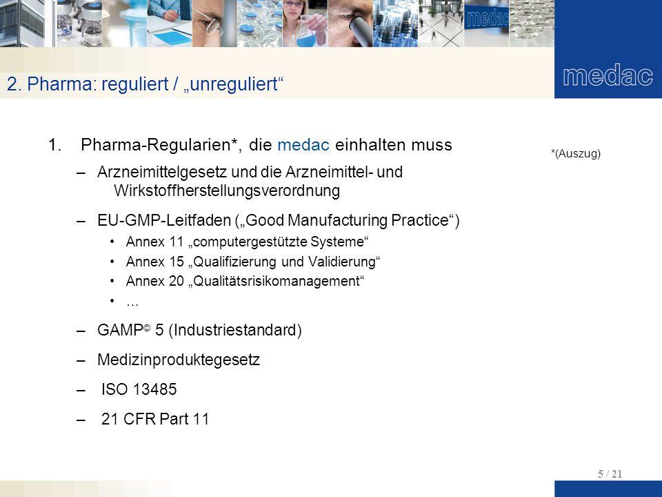 """2. Pharma: reguliert / """"unreguliert"""" 5 / 21 1.Pharma-Regularien*, die medac einhalten muss –Arzneimittelgesetz und die Arzneimittel- und Wirkstoffhers"""