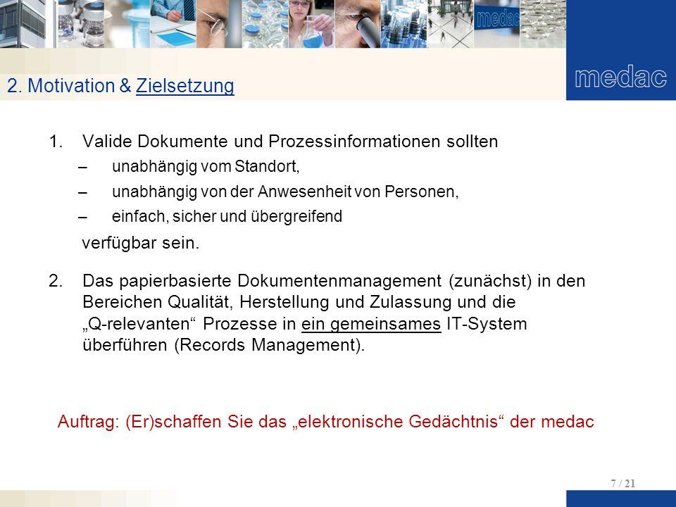 2. Motivation & Zielsetzung 7 / 21 1.Valide Dokumente und Prozessinformationen sollten –unabhängig vom Standort, –unabhängig von der Anwesenheit von P