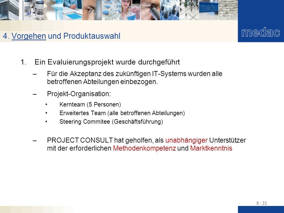4. Vorgehen und Produktauswahl 8 / 21 1.Ein Evaluierungsprojekt wurde durchgeführt –Für die Akzeptanz des zukünftigen IT-Systems wurden alle betroffen