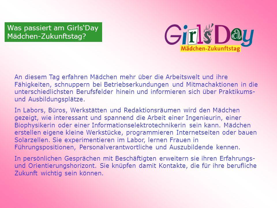 Was passiert am Girls'Day Mädchen-Zukunftstag.