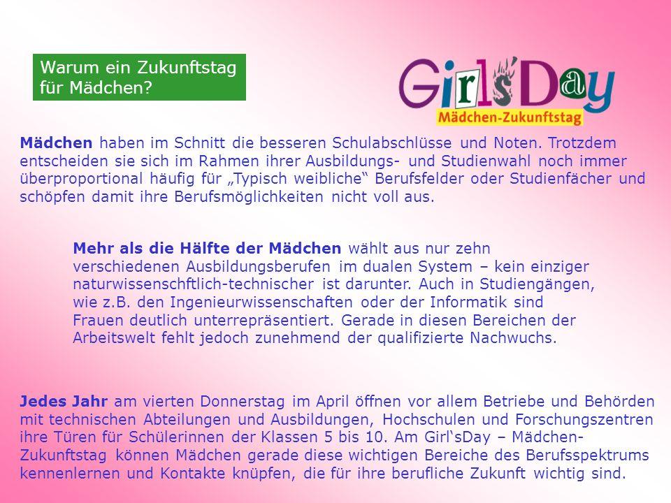 Warum ein Zukunftstag für Mädchen. Mädchen haben im Schnitt die besseren Schulabschlüsse und Noten.