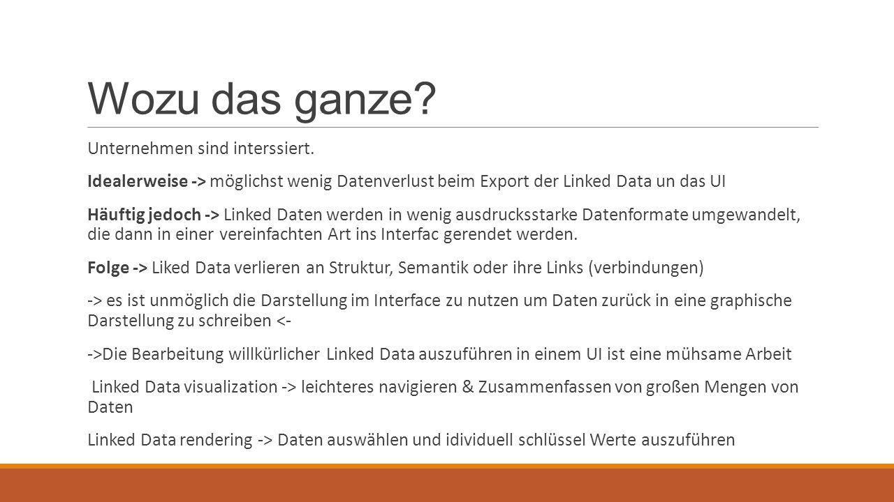 Wozu das ganze? Unternehmen sind interssiert. Idealerweise -> möglichst wenig Datenverlust beim Export der Linked Data un das UI Häuftig jedoch -> Lin