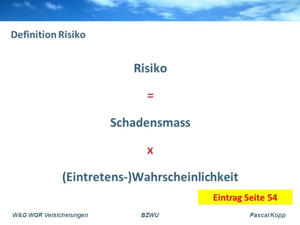 W&G WGR VersicherungenBZWUPascal Kopp 3.3 3-Säulen-Konzept 1.Säule AHV/IV staatlich obligatorisch Existenz 2.