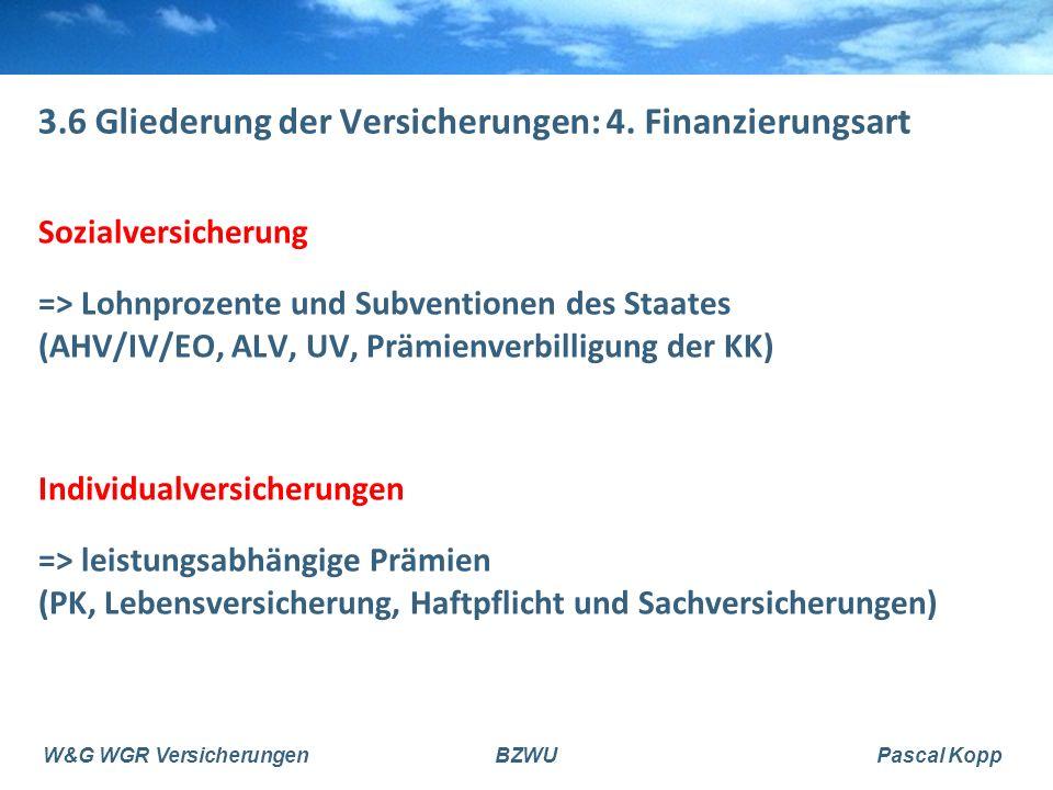 W&G WGR VersicherungenBZWUPascal Kopp 3.6 Gliederung der Versicherungen: 4.