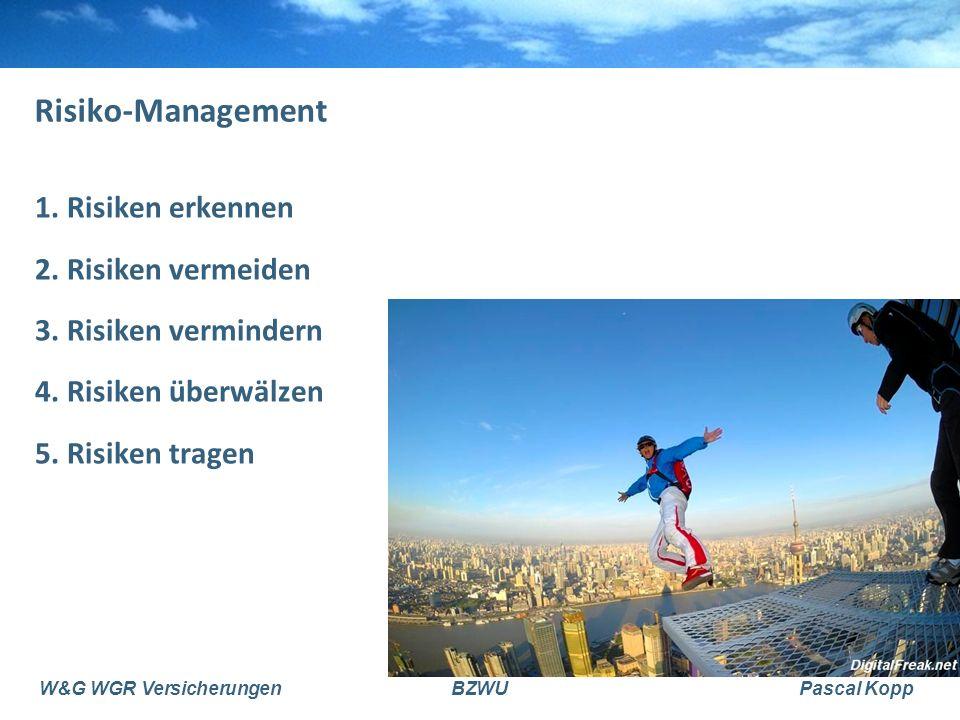 W&G WGR VersicherungenBZWUPascal Kopp Risiko-Management 1. Risiken erkennen 2. Risiken vermeiden 3. Risiken vermindern 4. Risiken überwälzen 5. Risike