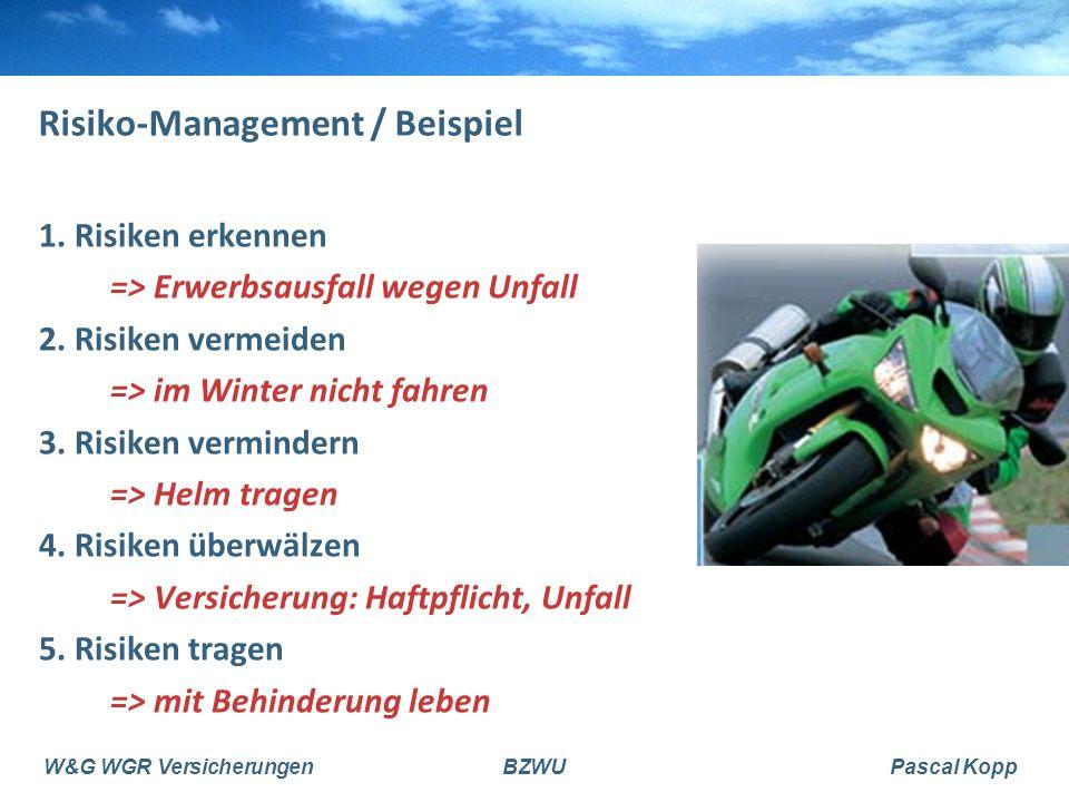 W&G WGR VersicherungenBZWUPascal Kopp Risiko-Management / Beispiel 1. Risiken erkennen => Erwerbsausfall wegen Unfall 2. Risiken vermeiden => im Winte