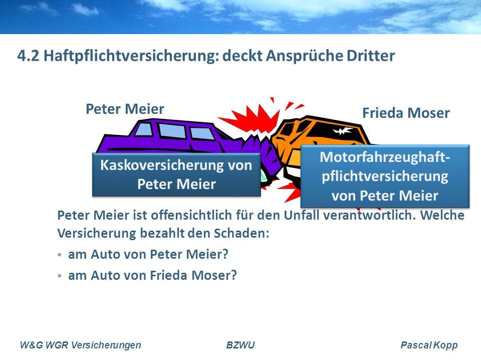 W&G WGR VersicherungenBZWUPascal Kopp 4.2 Haftpflichtversicherung: deckt Ansprüche Dritter Peter Meier Frieda Moser Peter Meier ist offensichtlich für den Unfall verantwortlich.