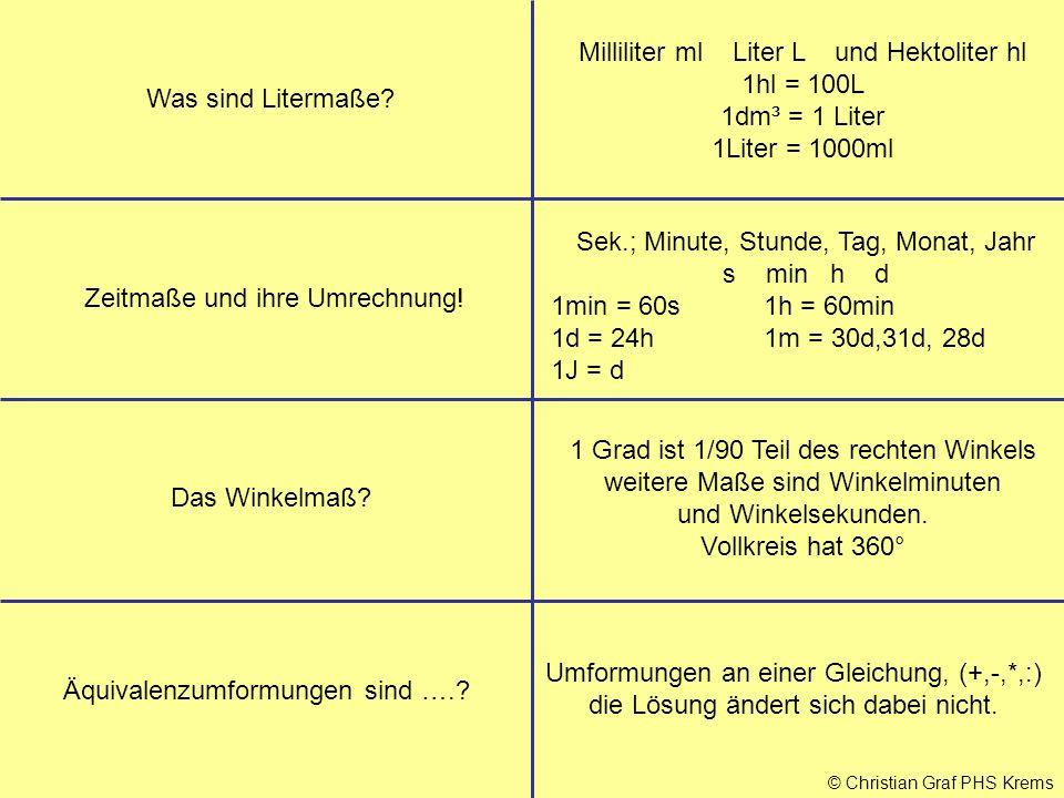 © Christian Graf PHS Krems Was sind Litermaße? Milliliter ml Liter L und Hektoliter hl 1hl = 100L 1dm³ = 1 Liter 1Liter = 1000ml Zeitmaße und ihre Umr