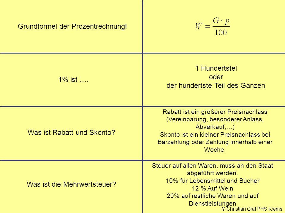 © Christian Graf PHS Krems Grundformel der Prozentrechnung! 1% ist …. 1 Hundertstel oder der hundertste Teil des Ganzen Was ist Rabatt und Skonto? Rab