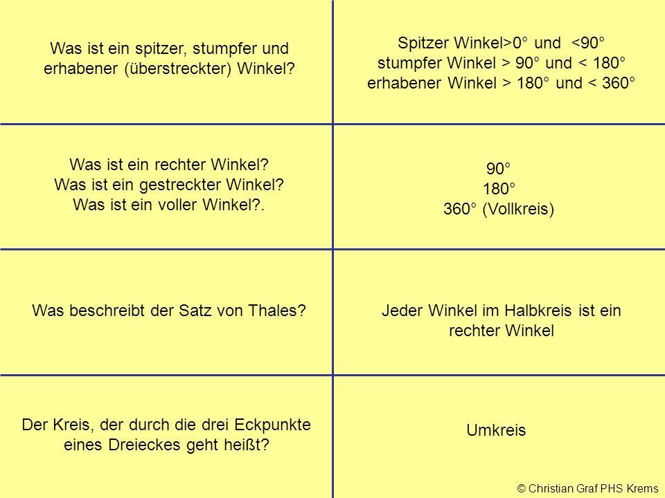 © Christian Graf PHS Krems Was beschreibt der Satz von Thales?Jeder Winkel im Halbkreis ist ein rechter Winkel Der Kreis, der durch die drei Eckpunkte