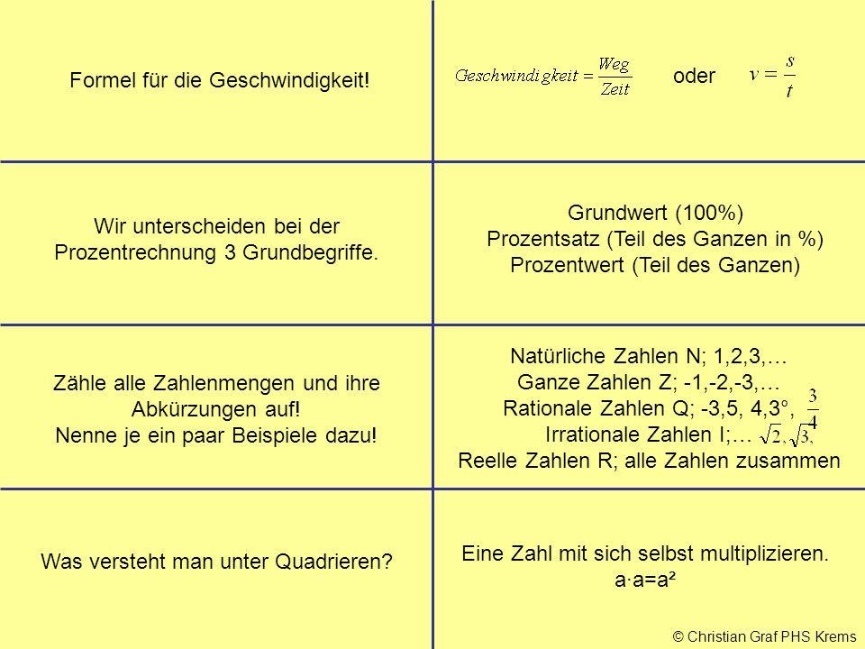 © Christian Graf PHS Krems Formel für die Geschwindigkeit! Wir unterscheiden bei der Prozentrechnung 3 Grundbegriffe. Grundwert (100%) Prozentsatz (Te