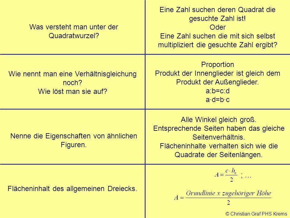 © Christian Graf PHS Krems Was versteht man unter der Quadratwurzel? Eine Zahl suchen deren Quadrat die gesuchte Zahl ist! Oder Eine Zahl suchen die m