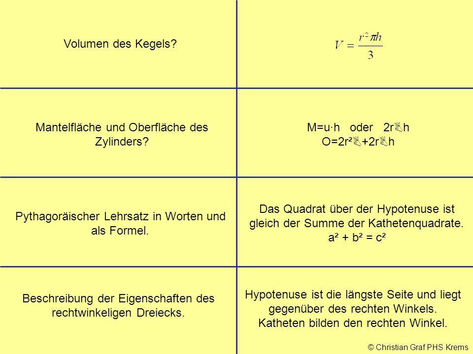 © Christian Graf PHS Krems Volumen des Kegels? Mantelfläche und Oberfläche des Zylinders? M=u·h oder 2r  h O=2r²  +2r  h Pythagoräischer Lehrsatz i