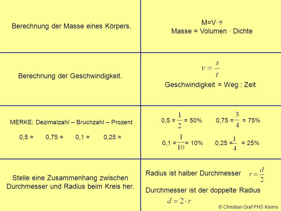 © Christian Graf PHS Krems Berechnung der Masse eines Körpers. M=V·  Masse = Volumen · Dichte Berechnung der Geschwindigkeit. Stelle eine Zusammenhan