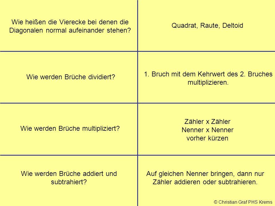 © Christian Graf PHS Krems Wie heißen die Vierecke bei denen die Diagonalen normal aufeinander stehen? Quadrat, Raute, Deltoid Wie werden Brüche divid