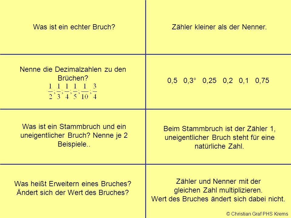 © Christian Graf PHS Krems Was ist ein echter Bruch?Zähler kleiner als der Nenner. 0,5 0,3° 0,25 0,2 0,1 0,75 Was ist ein Stammbruch und ein uneigentl