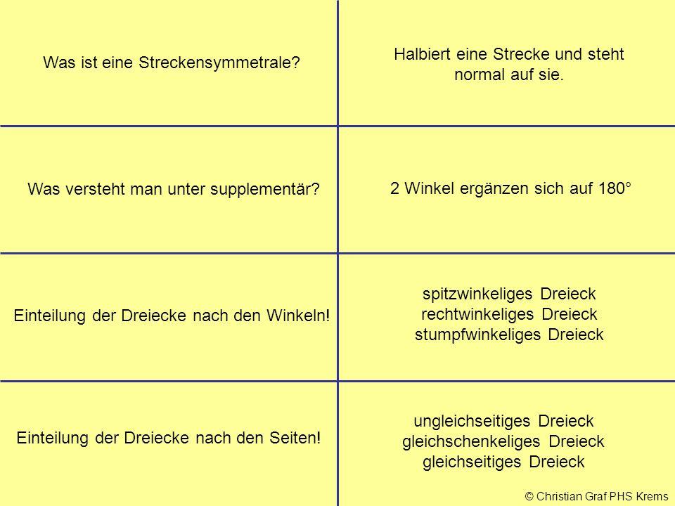 © Christian Graf PHS Krems Was ist eine Streckensymmetrale? Halbiert eine Strecke und steht normal auf sie. Was versteht man unter supplementär? 2 Win