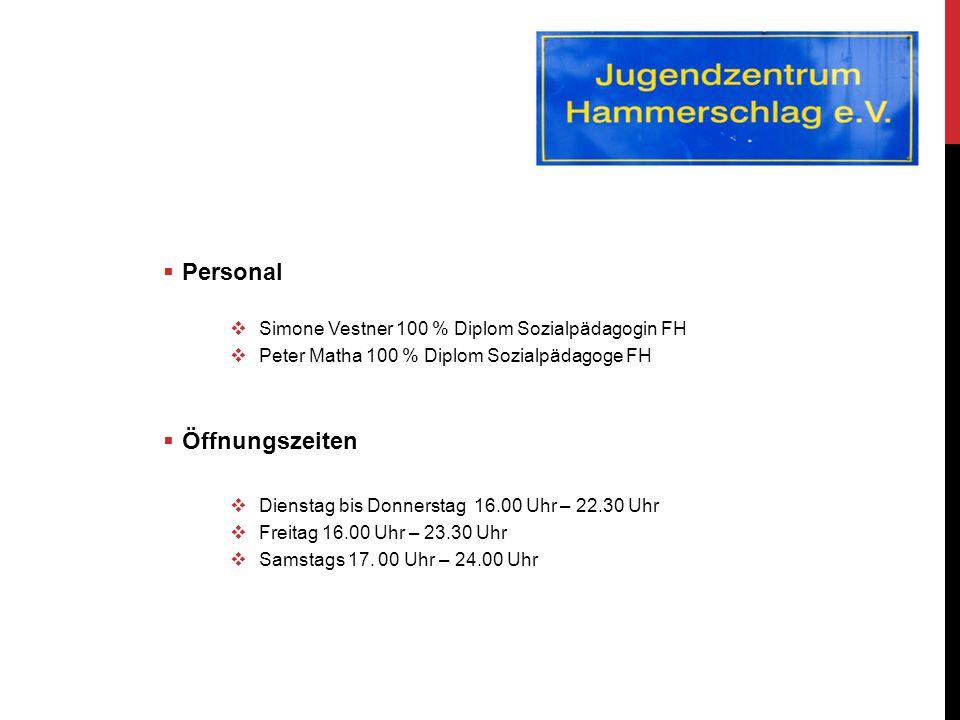  Personal  Simone Vestner 100 % Diplom Sozialpädagogin FH  Peter Matha 100 % Diplom Sozialpädagoge FH  Öffnungszeiten  Dienstag bis Donnerstag 16.00 Uhr – 22.30 Uhr  Freitag 16.00 Uhr – 23.30 Uhr  Samstags 17.