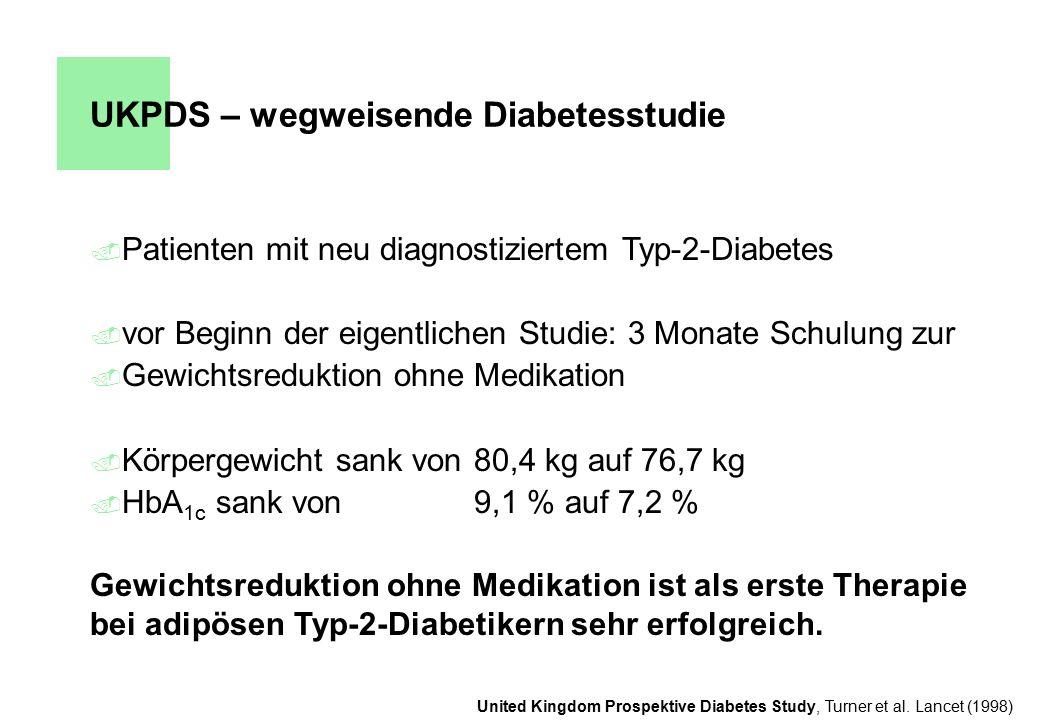 UKPDS – wegweisende Diabetesstudie. Patienten mit neu diagnostiziertem Typ-2-Diabetes. vor Beginn der eigentlichen Studie: 3 Monate Schulung zur. Gewi