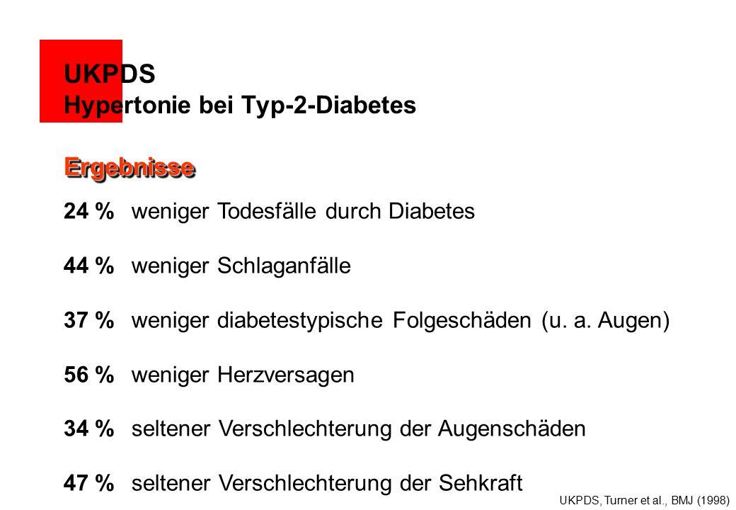 24 % weniger Todesfälle durch Diabetes 44 % weniger Schlaganfälle 37 % weniger diabetestypische Folgeschäden (u.