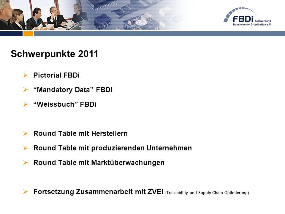  Pictorial FBDi  Mandatory Data FBDi  Weissbuch FBDi  Round Table mit Herstellern  Round Table mit produzierenden Unternehmen  Round Table mit Marktüberwachungen  Fortsetzung Zusammenarbeit mit ZVEI (Traceability und Supply Chain Optimierung) Schwerpunkte 2011